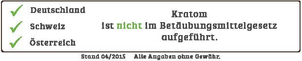 Kratom ist in Deutschland, der Schweiz und Österreich legal.